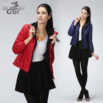 金紫荆羽绒服女新款潮修身显瘦韩版时尚连帽外套红色通勤简约正品