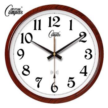 康巴丝钟表客厅挂钟办公静音壁钟时钟考场定制仿木纹专用分秒不差电波钟