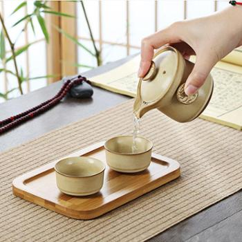 陶立方 便携旅行茶具功夫茶具套装快客杯一壶两杯带茶盘旅行包 TF-5511