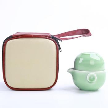 陶立方陶瓷茶具一壶两杯旅行茶具套装青瓷茶具便携茶具简约家用办公功夫茶具TF-5999
