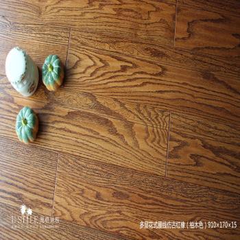 风格地板实木多层美国红橡