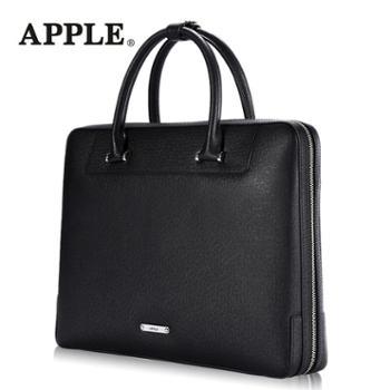 APPLE苹果手提包男横款真皮简约商务公文包大容量头层牛皮男包