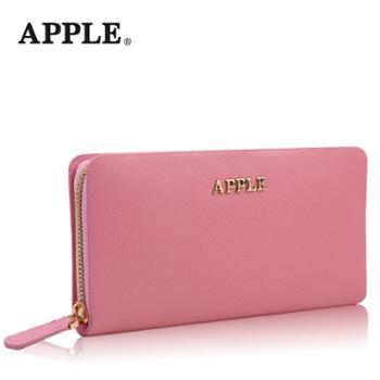 Apple苹果女士手拿包头层牛皮糖果色钱包手包真皮长款拉链手抓包
