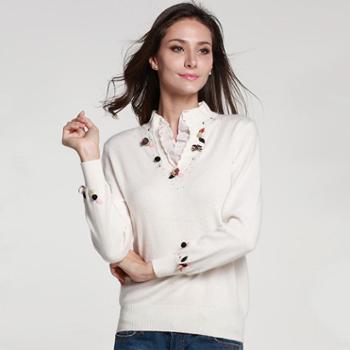 衣锦牧园羊绒衫女式立领蕾丝百搭羊绒衫女套头修身职业打底针织衫毛衣
