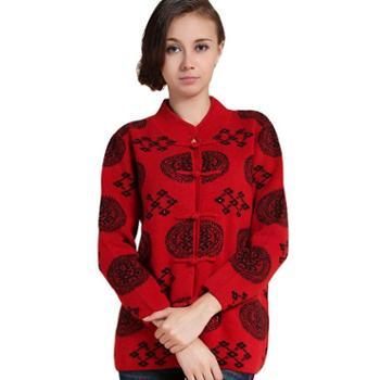 衣锦牧园新款羊绒衫女爸妈情侣装中国风唐装加厚针织毛衣