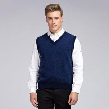 衣锦牧园新款羊绒衫男士商务休闲男士毛衣马甲套头V领提花针织衫羊绒衫男