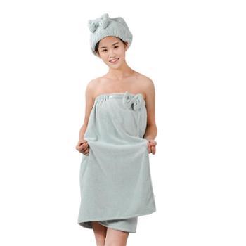 永亮毛巾珊瑚绒浴裙浴帽超柔吸水浴巾浴袍2件套7759