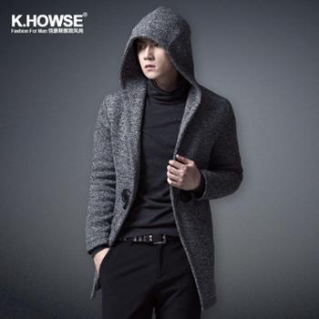 恺豪斯/khowse2013/14新款时尚 秋冬一粒牛角扣 休闲针织大衣 OC1340203