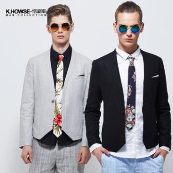 凯豪斯/恺豪斯2014春装新款男士西服套装 一粒扣亚麻休闲西装 修身 英伦 BI1410242