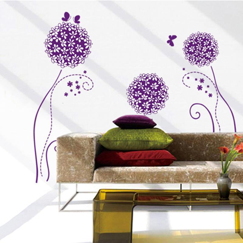 特墙贴 客厅墙贴画 电视背景墙贴纸 黑色绣球花 Y7014