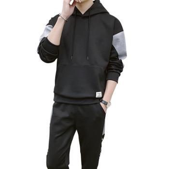 点就ins拼接撞色连帽卫衣套装男潮流韩版帅气社会精神小伙运动两件套DJ-DS364