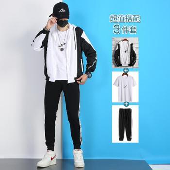 夹克男夏季外套薄款立领韩版潮流一套搭配衣服帅气防晒运动服套装TZ988套装