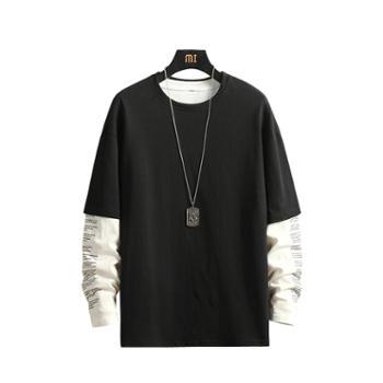 ins潮款春秋男士长袖T恤潮流时尚假两件纯棉打底衫男装上衣服DS456