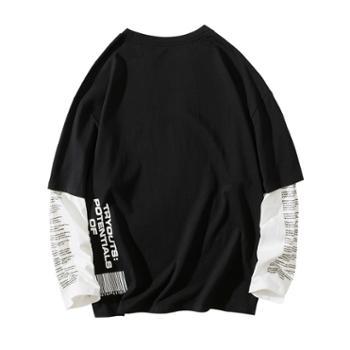 ins潮款春秋新品长袖男士T恤潮流时尚假两件纯棉打底衫男装上衣服DS456