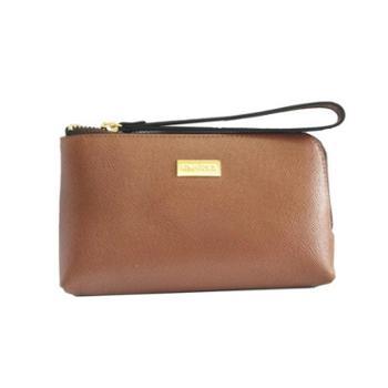 NINORIVA尼诺里拉咖色牛皮革女士手挽零钱包NR60339-1