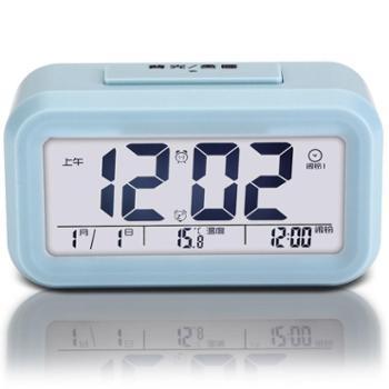 TIMESS光感智能系列液晶显示夜光智能电子闹钟静音贪睡钟A995-2蓝色
