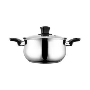 美的(Midea)304食品用不锈钢锅复合厚底奶汤锅燃磁通用20CM口径CJ20POT501
