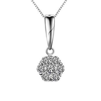 iwe正品925纯银项链女韩国花的姿态银吊坠毛衣链特价包邮