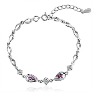 iwe S925纯银手链女款韩版时尚情侣饰品细款紫水晶手链送女友礼物