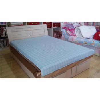 浅蓝色有机柔肤棉方格单人床单