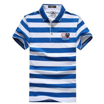 NIANJEEP/吉普盾2017新款polo衫短袖T恤男英伦时尚黑白条纹宽松短袖9781