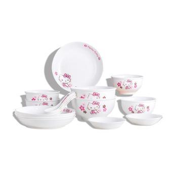 HelloKitty粉漫花语16件餐具套装