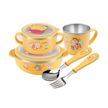 爱婴小铺迪士尼萌萌维尼不锈钢儿童餐具原力五件套TKCP19005