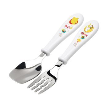爱婴小铺迪士尼妙趣维尼不锈钢学习训练勺叉TKCP14002-43