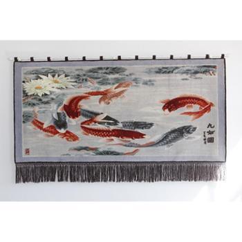 天发100%纯羊毛手工风景人物客厅/九如图挂毯壁毯/定做