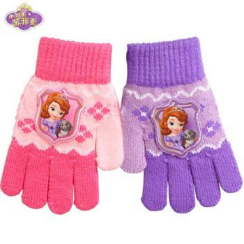 Disney/迪士尼苏菲亚公主儿童手套保暖冬季女童宝宝五指加厚可爱毛线手套
