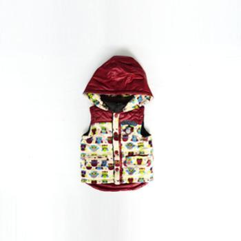 2013欧特134-12201儿童棉马夹紫红蓝格子