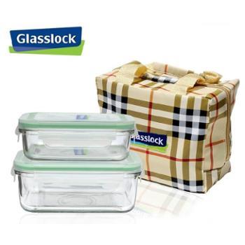 韩国三光云彩GLASSLOCK玻璃饭盒微波炉保鲜盒带包套装GL23