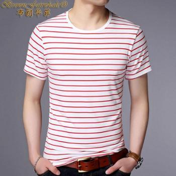 布朗华菲新款夏装丝光棉男士条纹圆领短袖T恤660X