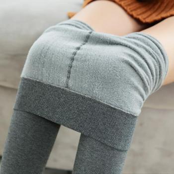 女士精梳棉竖条龙爪毛打底裤秋冬修身分层一体连裤袜B100