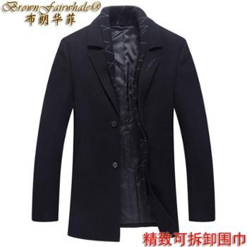 布朗华菲 秋冬男士西装领羊毛可脱卸围巾中长款刺绣外套大衣178099