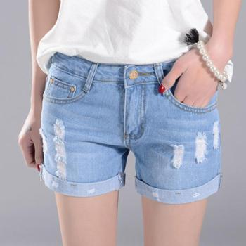 新款女装破洞翻边牛仔短裤韩版显瘦修身牛仔热裤子