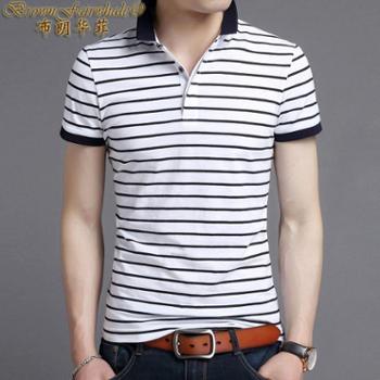 布朗华菲新款中青年条纹男士短袖T恤翻领半袖汗衫圆领V领1828