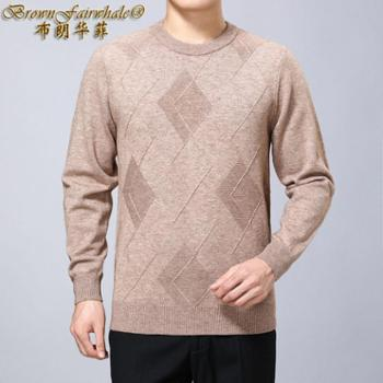 布朗华菲 新款中老年圆领长袖男士羊绒羊毛衫套头加厚保暖毛衣8210