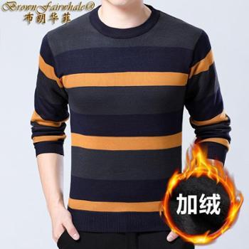 布朗华菲新款加绒加厚羊毛套头圆领针织打底衫男士条纹休闲毛衣8302