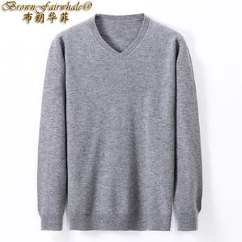 布朗华菲 男士中青年时尚圆领长袖纯羊毛针织衫纯色V领毛衣3301