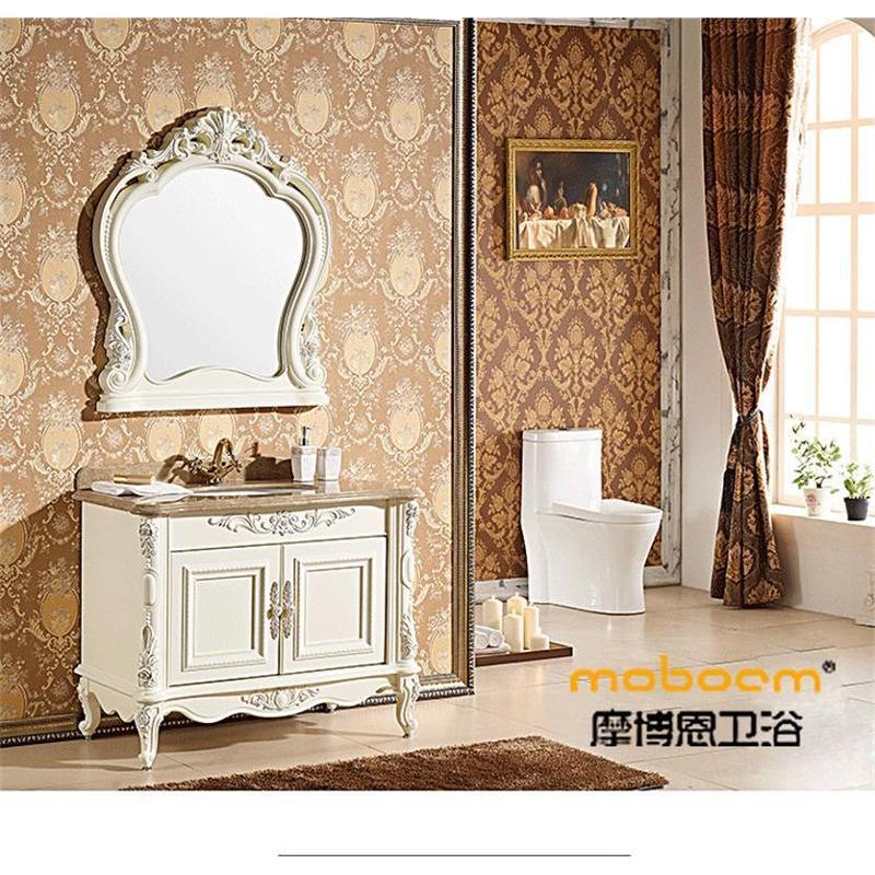 浴室柜大理石台面落地欧式浴室柜洗手盆面盆卫浴柜