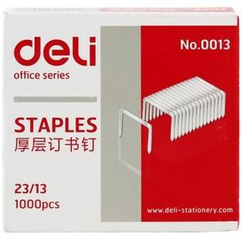 得力(deli) 0013 高强度钢厚层订书钉 23/13 1000枚/盒