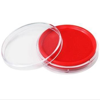 得力(deli)9863 圆形透明外壳快干印台(红色)
