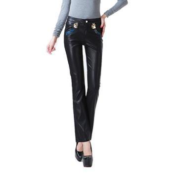 秋冬装女裤欧美风钮扣皮裤铅笔裤低腰修身PU裤女式弹力裤长裤