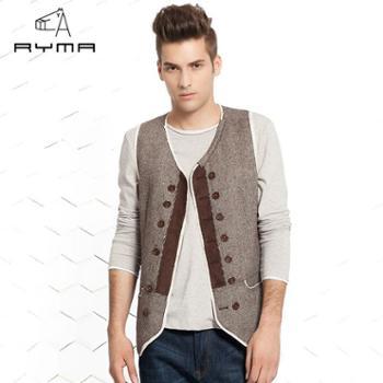 RYMA正品新款时尚修身V领男士马甲 潮款双排扣男装马夹