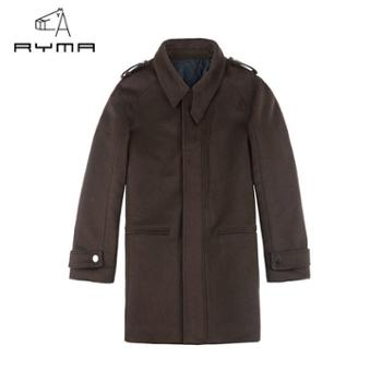 正品男装冬季新品商务休闲中长款呢大衣男时尚修身翻领毛呢外套