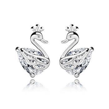 925银天鹅公主耳钉时尚气质百搭耳钉人工钻石