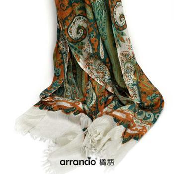 橘语新款礼品羊绒混纺柔软气质薄女印花民族佩斯利花纹披肩围巾秋冬季