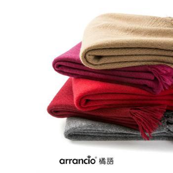 橘语新款羊毛绒混纺空调酒红灰色人字纹披肩加厚围巾秋冬保暖女