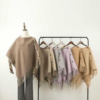 橘语双面空调房流苏时尚气质午睡毯子简约披肩围巾秋冬季披风